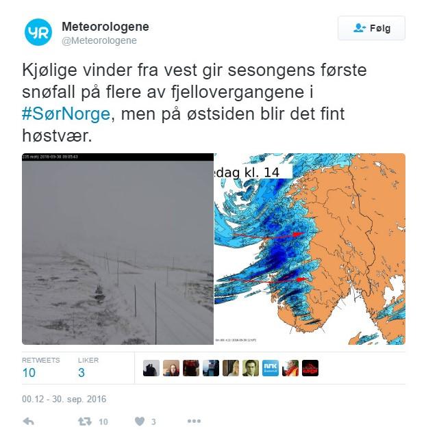 Masse vær på Hardangervidda – 30. sept 2016