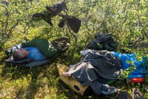 Soving i varmen mens kleggen beit oss