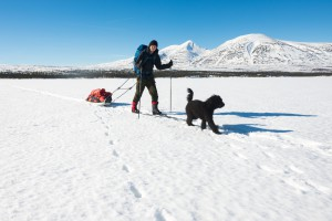 Jeg og Frøya på tur på Sølensjøen
