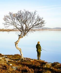 Jeg som fisker i Røvolltjønna